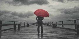 Rain man with red umbrella, uramljena slika 50x100cm