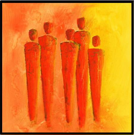 Slika Slika red peoples, uranmljena slika 70x70cm