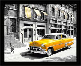 Slika Žuti taksi u Njujorku, uramljena slika