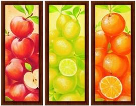 Jabuka, Limun, Pomorandža, uramljene slike, triptih