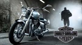 Motor Harley&Davidson, uramljena slika 50x100cm