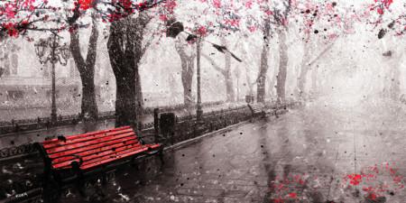Red bench, uramljena slika 50x100 cm