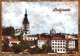 Slika Saborna Crkva - Pristanište retro tabla