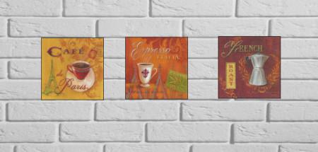 Slika Cafe, tri uramljene slike 30x30cm svaka