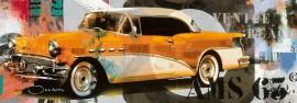 Slika Stari zuti automobil, uramljena slika