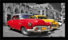 Crveni i žuti oldtajmeri, uramljena slika