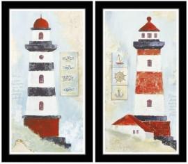 Crveno beli svetionici, uramljene slike