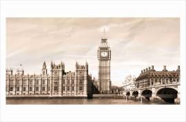 Slika London sephia, uramljena slika 50x100cm