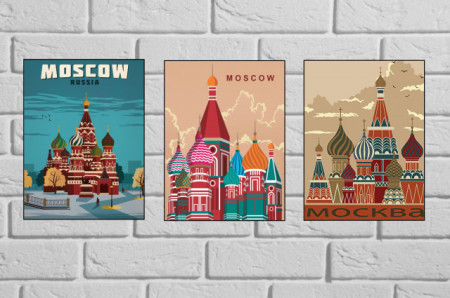 Old posters MOSKVA , tri uramljene slike 30x40cm svaka