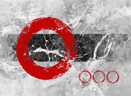 Red O, uramljena slika dimenzije 70x100cm