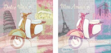 Vespe Paris i Rim, uramljene slike komplet 2 kom 50x50cm svaka