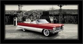 Slika Crveni oldtajmer kabriolet, uramljena slika