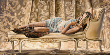 Slika Girl on sofa, uramljena slika 50x100cm
