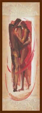 Slika Spoj crvenih figura, uramljena slika