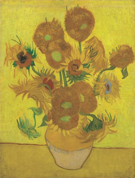Sunflowers Van Gogh, uramljena slika 70x100cm