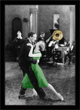 Tango plesni par, crno bela uramljena slika