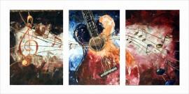 Music triptych, uramljena slika 50x100 cm