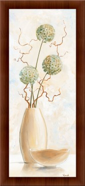 Nezni beli cvetovi, uramljena slika