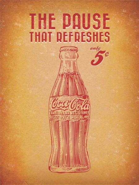 Old poster Coca Cola 5c, uramljena slika 30x40cm