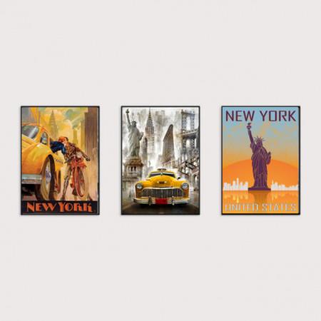 Old posters New York , tri uramljene slike 30x40cm svaka