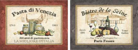 Pasta i Bistro, uramljena slika komplet od 2 kom, 30x40cm svaka