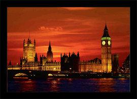 Slika London u crvenim linijama, uramljena slika