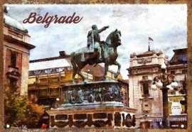 Slika Spomenik Knezu Mihajlu retro tabla