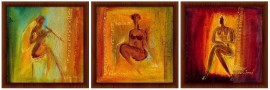 Slika Ženska lepota, uramljene slike, triptih