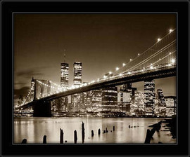 Crno beli most u Bruklinu, uramljena slika