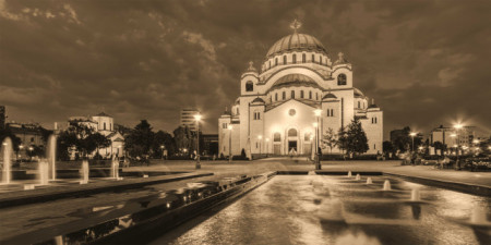 Slika Hram Sv. Save Sepia, uramljena slika 50x100 cm