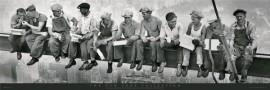 Radnici visoko na gredi, uramljena slika 53 x 158 cm