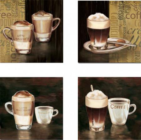 Slika Svet Kafe, 4 slike dimenzije 30x30 cm svaka
