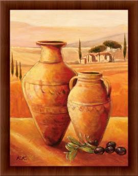 Slika Vaze i masline, uramljena slika, 60x90