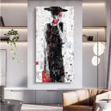 Black lady with red phone, uramljena slika 50x100cm