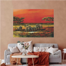 Elephants in Mali, uramljena slika 70x100cm