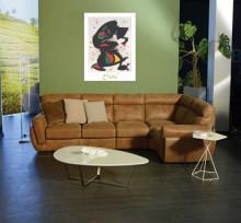 J. Miro, Aufrechte figur , uramljena slika 40x50cm