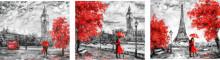 Slike Red Cities, tri uramljene slike 30x40cm svaka