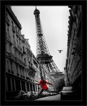 Devojka u crvenom, uramljena slika