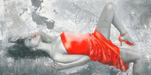 Lady in red, uramljena slika 50x100cm