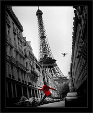 Red girl in Paris, framed picture