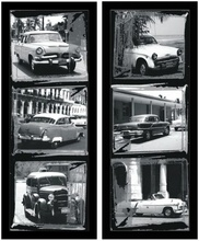 Black and white old cars, framed picture