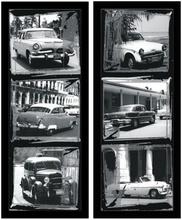 Crno bele slike starih automobila, uramljena slika