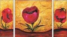 Crveno cveće triptih, uramljena slika