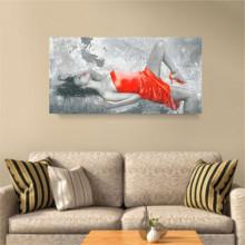 Lady in red, uramljena slika 50x100cm
