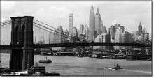 Manhattan Skyline and Manhattan Bridge, framed picture