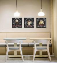 Slika Americano caffe, uramljena slika 3 koama 30x30cm svaka