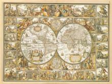 Stara mapa geografska sa zlatotiskom