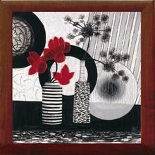 Crveni cvetovi, uramljena slika