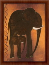Mama i beba slon, uramljena slika