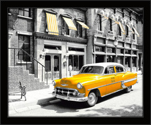 New York and yellow cab, framed picture
